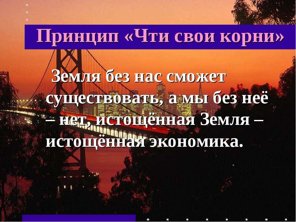 Принцип «Чти свои корни» Земля без нас сможет существовать, а мы без неё – не...