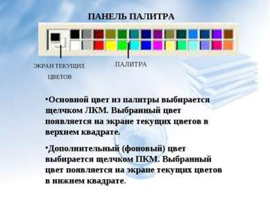ПАНЕЛЬ ПАЛИТРА ЭКРАН ТЕКУЩИХ ЦВЕТОВ ПАЛИТРА Основной цвет из палитры выбирает...