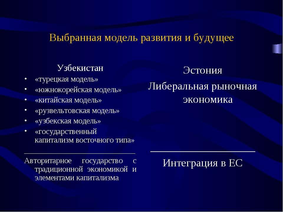 Выбранная модель развития и будущее Узбекистан «турецкая модель» «южнокорейск...