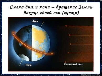 Смена дня и ночи – вращение Земли вокруг своей оси (сутки)