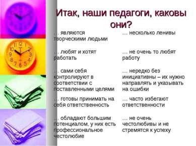 Итак, наши педагоги, каковы они? … являются творческими людьми … несколько ле...