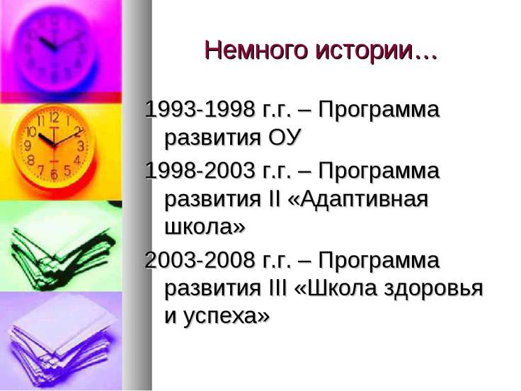 Немного истории… 1993-1998 г.г. – Программа развития ОУ 1998-2003 г.г. – Прог...