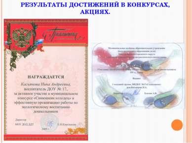 РЕЗУЛЬТАТЫ ДОСТИЖЕНИЙ В КОНКУРСАХ, АКЦИЯХ.