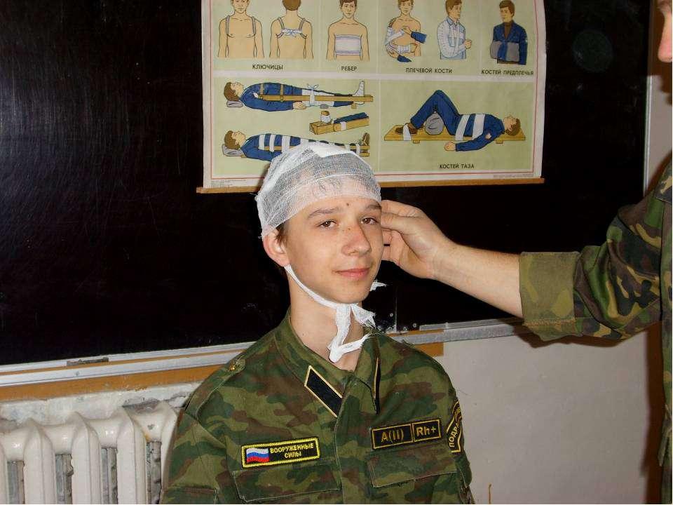 Проверка правильности наложения повязки при черепно-мозговой травме.