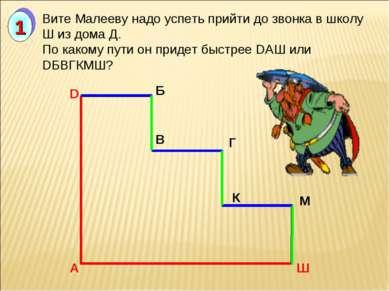 А D Б В Г К М Ш Вите Малееву надо успеть прийти до звонка в школу Ш из дома Д...