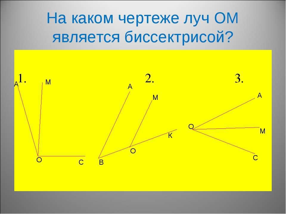 На каком чертеже луч ОМ является биссектрисой? 1. 2. 3. А О М С А В М К О А М...