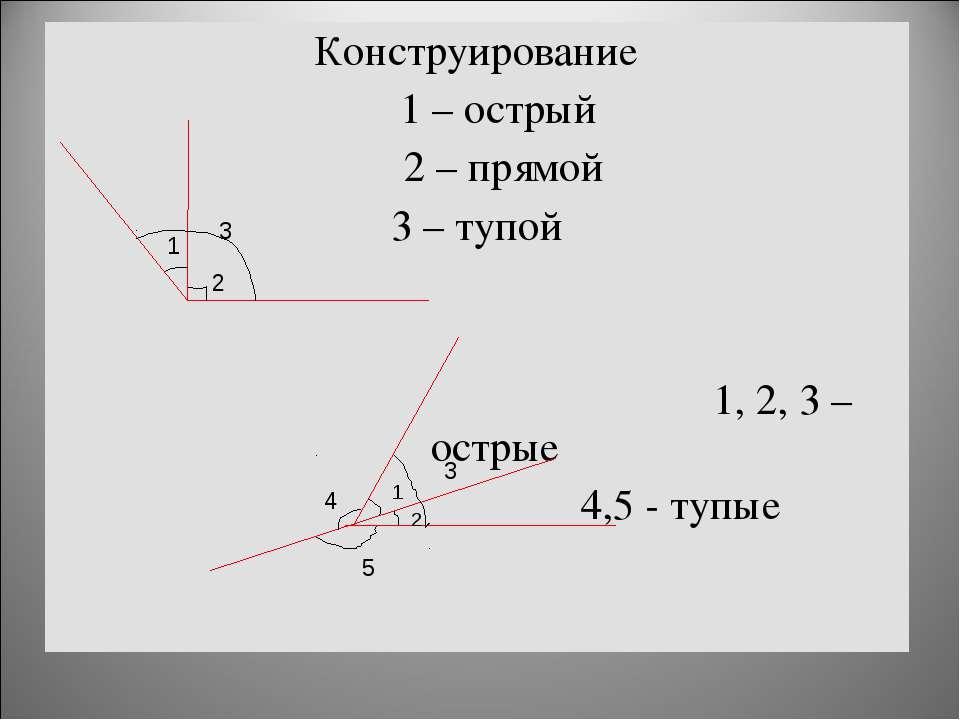 Конструирование 1 – острый 2 – прямой 3 – тупой 1, 2, 3 – острые 4,5 - тупые ...
