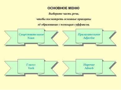 ОСНОВНОЕ МЕНЮ Существительное Noun Прилагательное Adjective Глагол Verb Нареч...