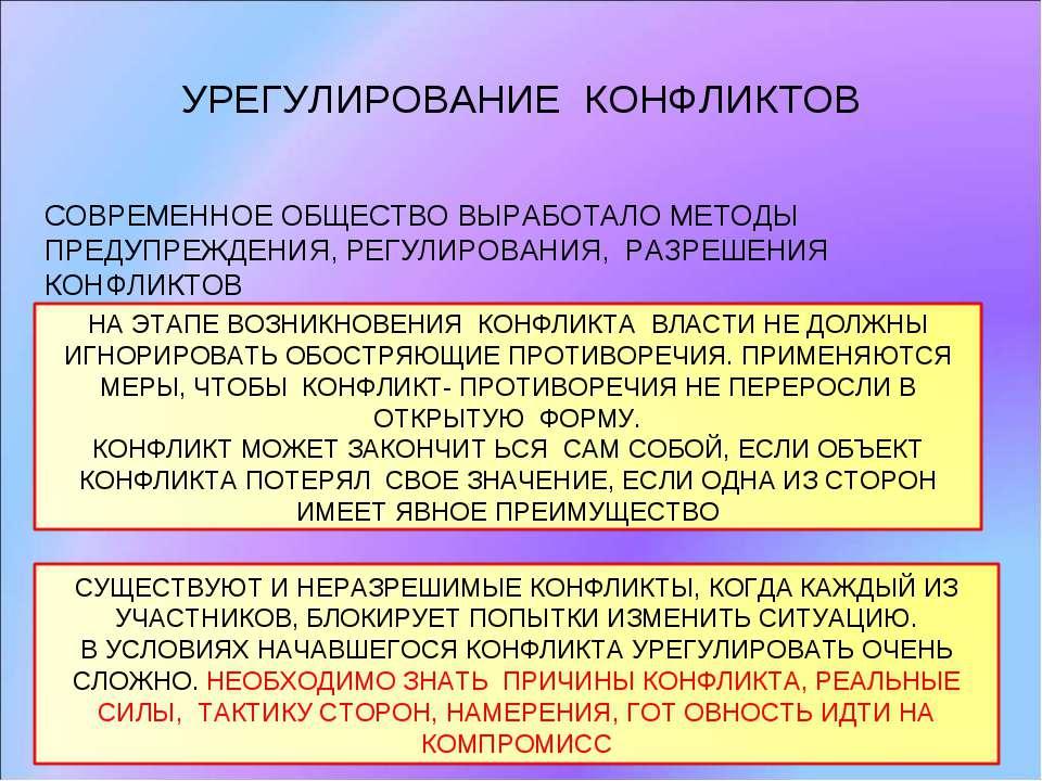 УРЕГУЛИРОВАНИЕ КОНФЛИКТОВ СОВРЕМЕННОЕ ОБЩЕСТВО ВЫРАБОТАЛО МЕТОДЫ ПРЕДУПРЕЖДЕН...