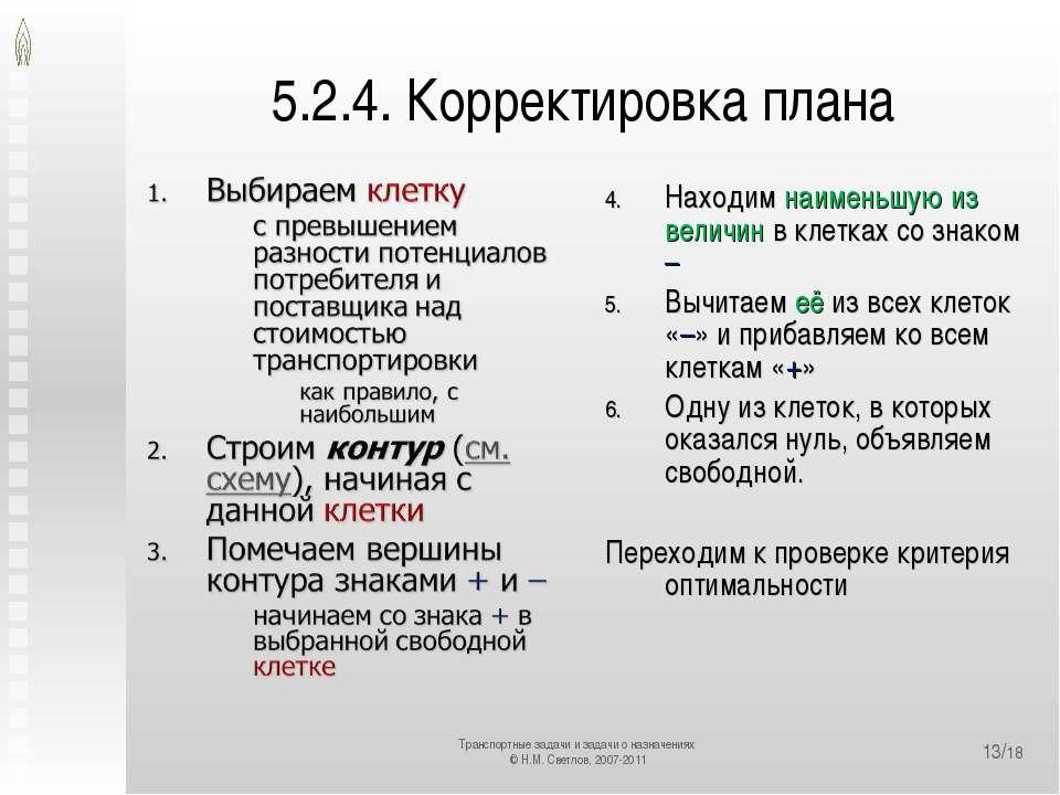 5.2.4. Корректировка плана Находим наименьшую из величин в клетках со знаком ...