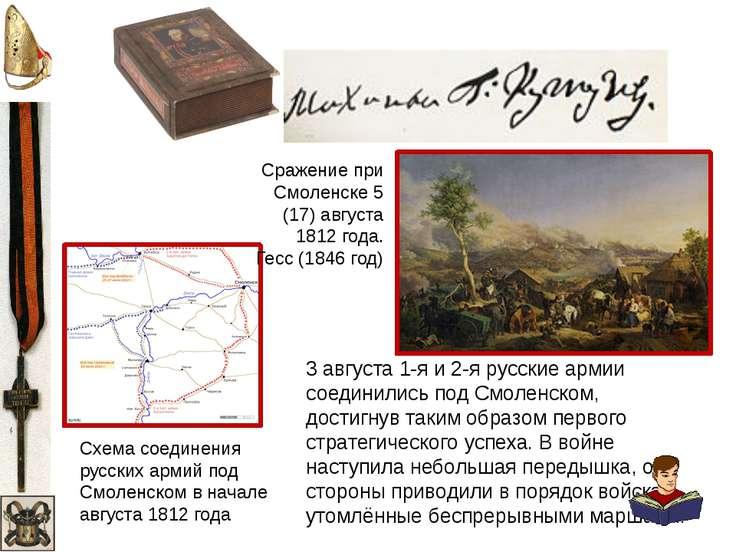 Схема соединения русских армий под Смоленскомв начале августа1812 года 3 ав...