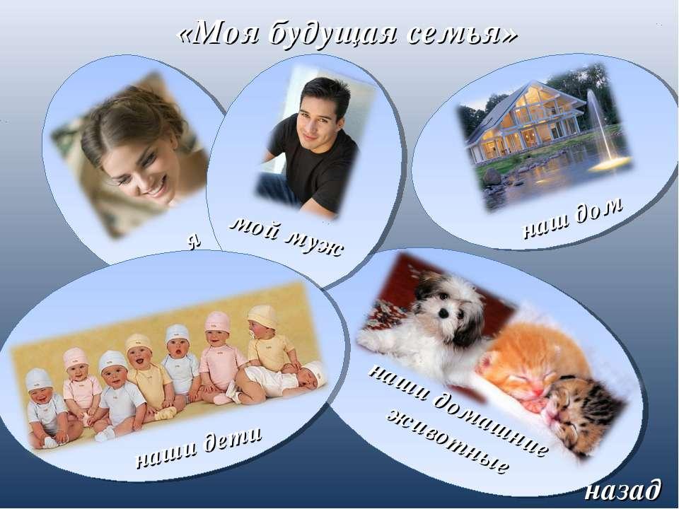 я «Моя будущая семья» мой муж наши дети наши домашние животные наш дом назад