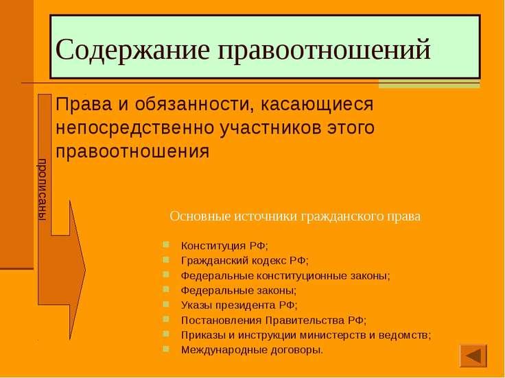 Содержание правоотношений Права и обязанности, касающиеся непосредственно уча...