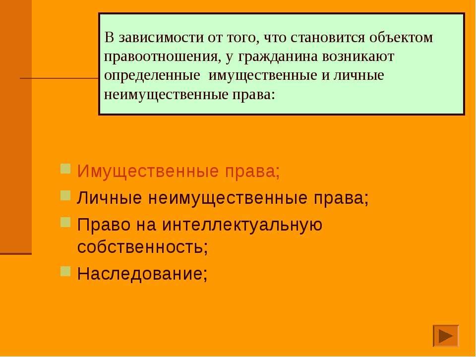 В зависимости от того, что становится объектом правоотношения, у гражданина в...