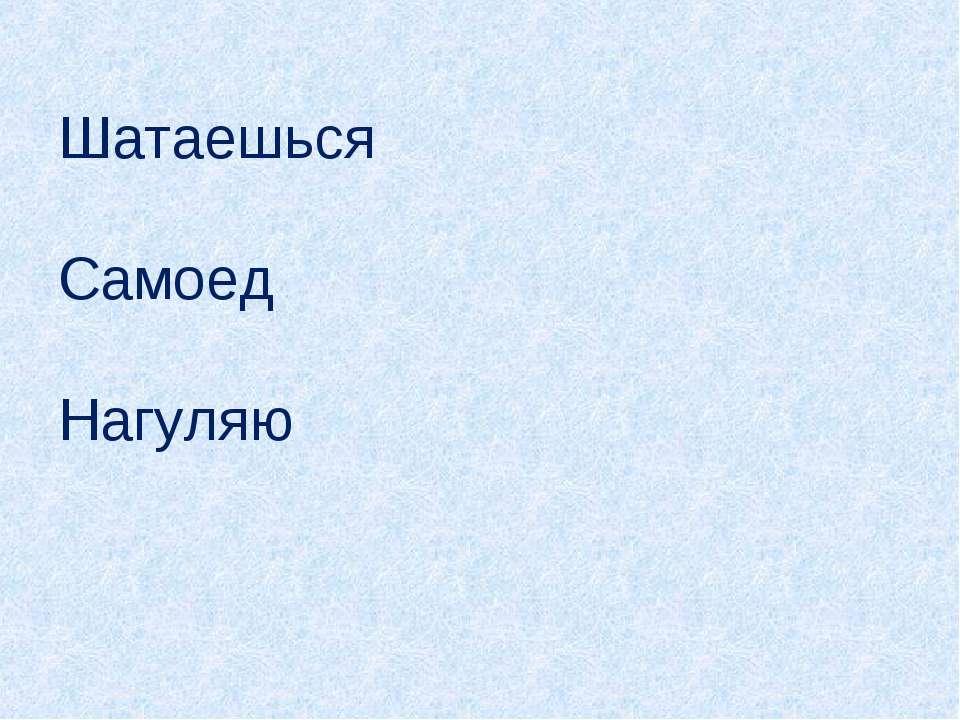 Шатаешься Самоед Нагуляю