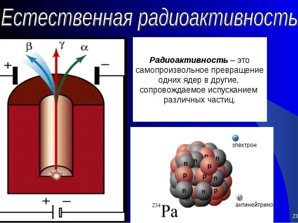 * * Радиоактивность – это самопроизвольное превращение одних ядер в другие, с...
