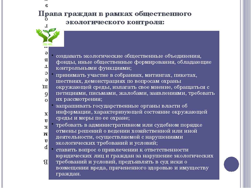 Права граждан в рамках общественного экологического контроля: