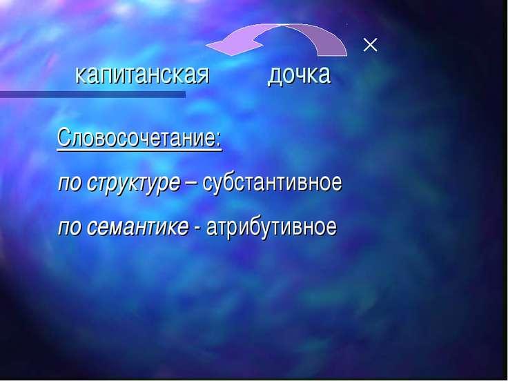 капитанская дочка Словосочетание: по структуре – субстантивное по семантике -...