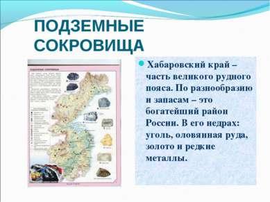 ПОДЗЕМНЫЕ СОКРОВИЩА Хабаровский край – часть великого рудного пояса. По разно...