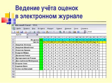 Ведение учёта оценок в электронном журнале