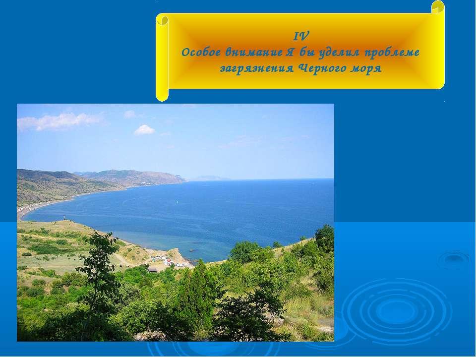 IV Особое внимание Я бы уделил проблеме загрязнения Черного моря