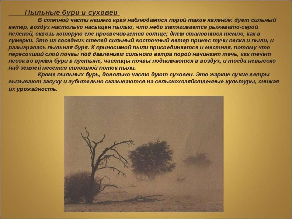 Пыльные бури и суховеи В степной части нашего края наблюдается порой такое яв...