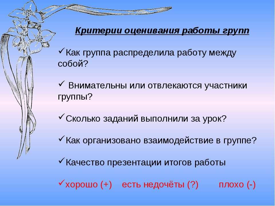 Критерии оценивания работы групп Как группа распределила работу между собой? ...