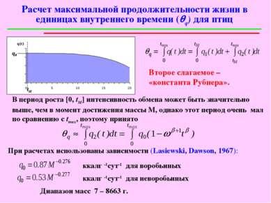 Расчет максимальной продолжительности жизни в единицах внутреннего времени (q...