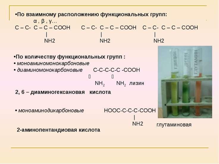 По количеству функциональных групп : моноаминомонокарбоновые диаминомонокарбо...