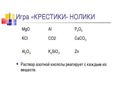 Игра «КРЕСТИКИ- НОЛИКИ Раствор азотной кислоты реагирует с каждым из веществ....