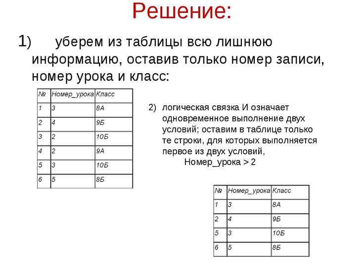 Решение: 1) уберем из таблицы всю лишнюю информацию, оставив только номер зап...