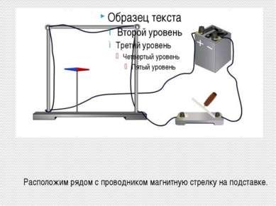 Расположим рядом с проводником магнитную стрелку на подставке.
