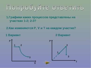 1 Вариант 2 Вариант 1.Графики каких процессов представлены на участках 1-2; 2...