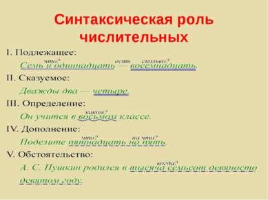Синтаксическая роль числительных
