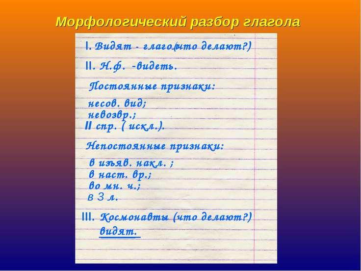 Морфологический разбор глагола (что делают?) видеть. несов. вид; невозвр.; II...