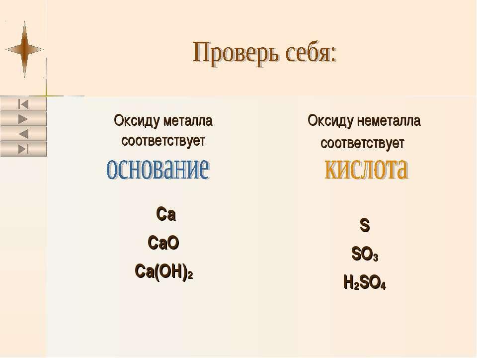 Оксиду металла соответствует Ca CaO Ca(OH)2 Оксиду неметалла соответствует S ...