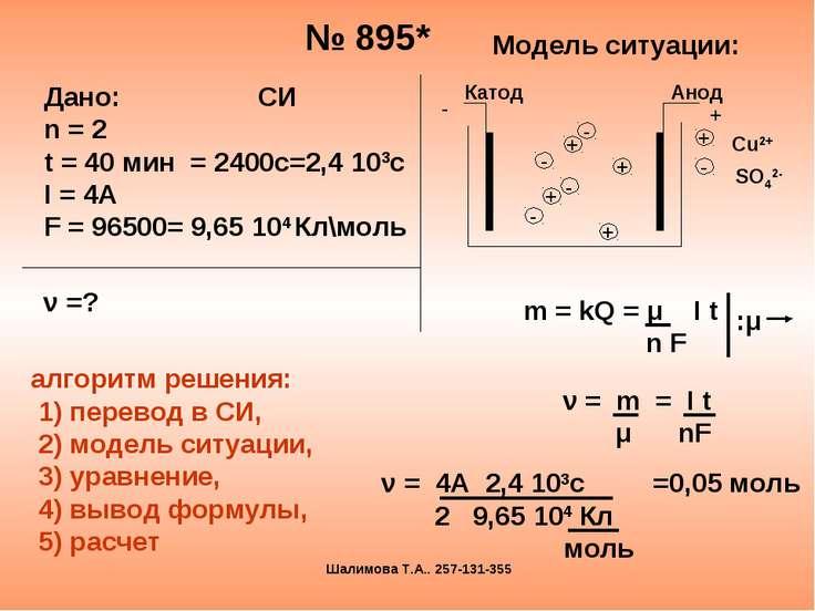 № 895* Модель ситуации: m = kQ = μ I t n F :μ ν = m = I t μ nF ν = 4А 2,4 103...