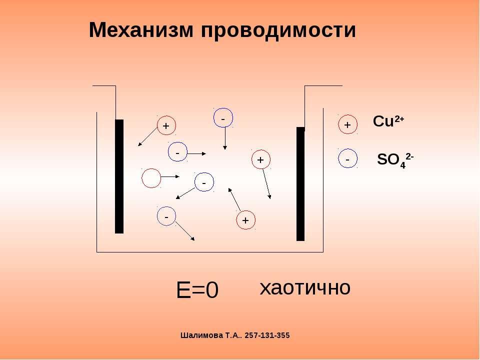Механизм проводимости Е=0 + + + - - - - хаотично Шалимова Т.А.. 257-131-355