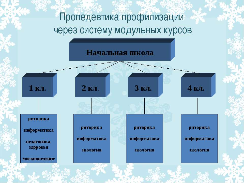 Пропедевтика профилизации через систему модульных курсов Начальная школа 1 кл...