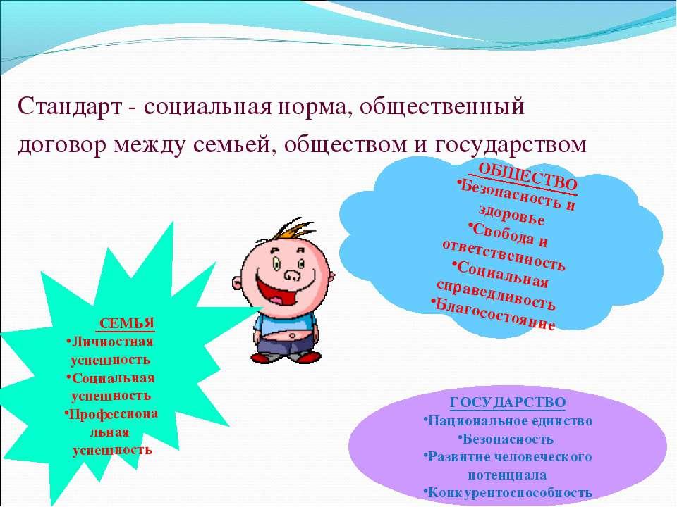 Стандарт - социальная норма, общественный договор между семьей, обществом и г...