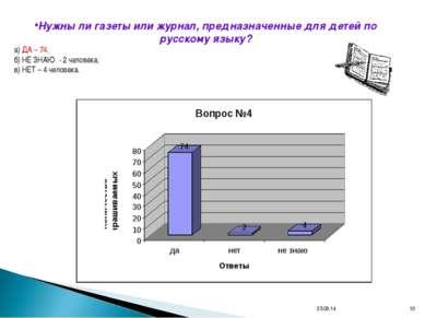 * * Нужны ли газеты или журнал, предназначенные для детей по русскому языку? ...