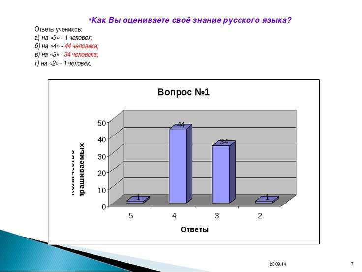 * * Как Вы оцениваете своё знание русского языка? Ответы учеников: а) на «5» ...