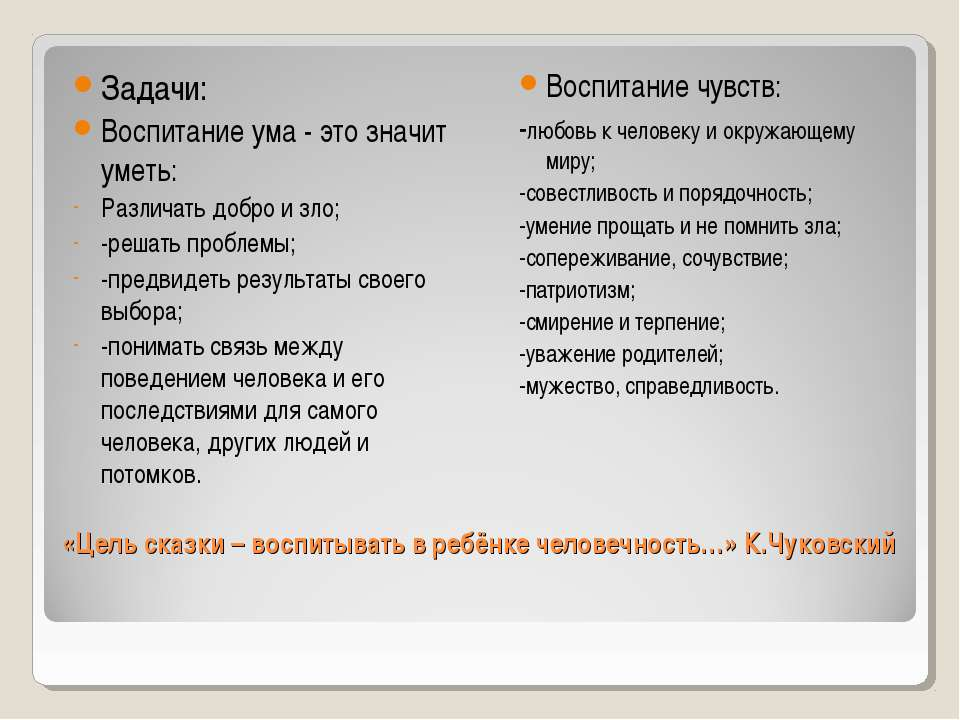 «Цель сказки – воспитывать в ребёнке человечность…» К.Чуковский Задачи: Воспи...