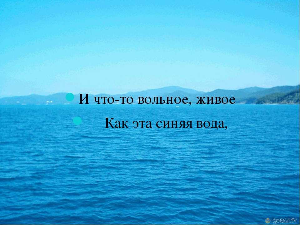 И что-то вольное, живое Как эта синяя вода,