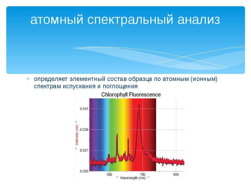 определяет элементный состав образца по атомным (ионным) спектрам испускания ...