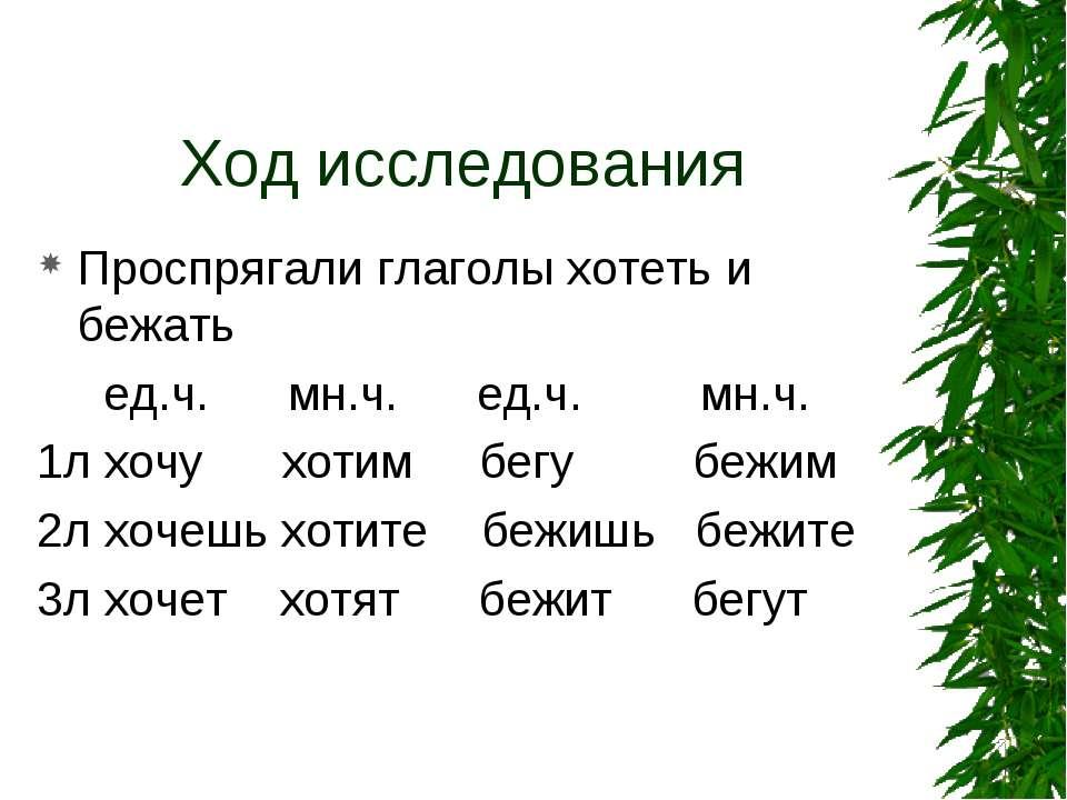 Ход исследования Проспрягали глаголы хотеть и бежать ед.ч. мн.ч. ед.ч. мн.ч. ...