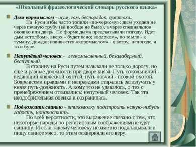 «Школьный фразеологический словарь русского языка» Дым коромыслом - шум, гам,...