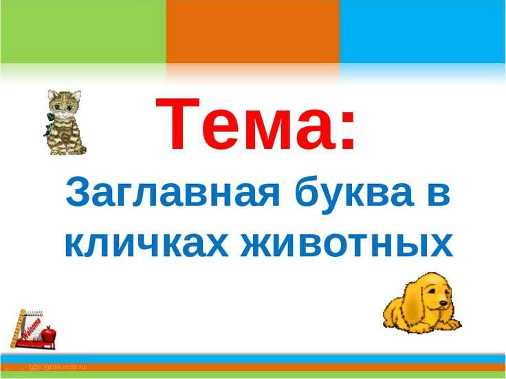 Тема: Заглавная буква в кличках животных