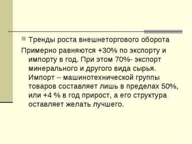 Тренды роста внешнеторгового оборота Примерно равняются +30% по экспорту и им...