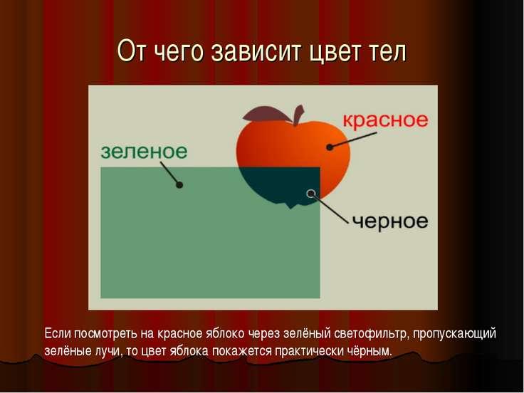 От чего зависит цвет тел Если посмотреть на красное яблоко через зелёный свет...